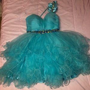 Teal blue Fiesta Prom dress